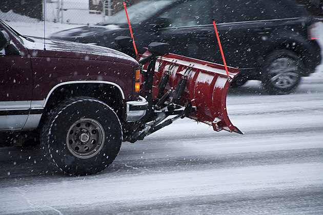 Snow plow and truck